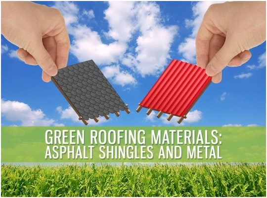 Green roofing materials asphalt shingles and metal for Sustainable roofing materials