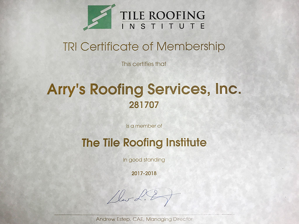 Roofing Certifications Tarpon Springs | Arry's Roofing