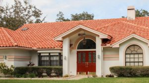 Spanish-style home with red tiled roof