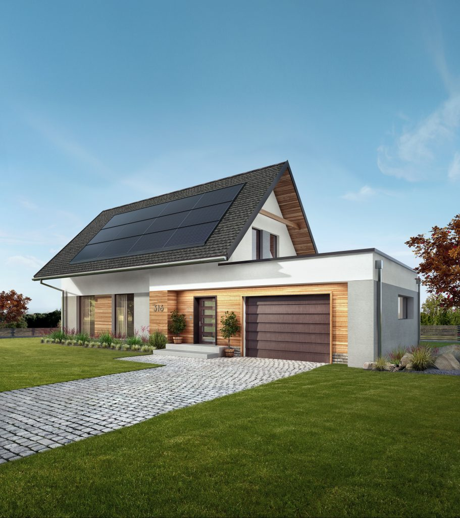 Digital rendering of home with solar panels flashed to roof