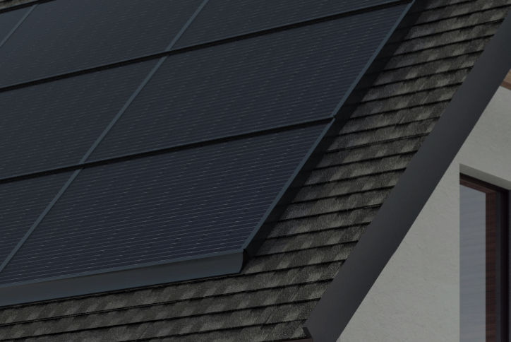 Close up on solar panel roof